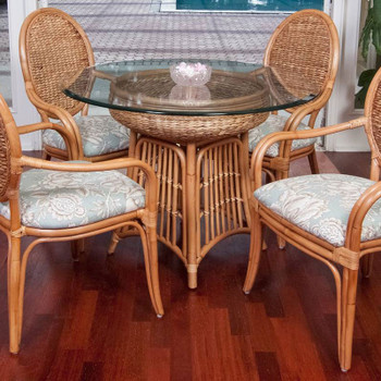 Havana 5 piece Dining Set with Arm Chairs in Antique Honey finish