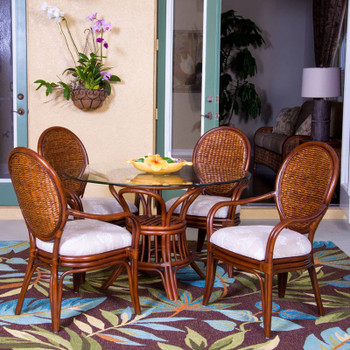 Havana 5 piece Dining Set with Arm Chairs in Sienna finish