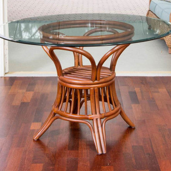 Universal Dining Table with round glass top in Sienna finish