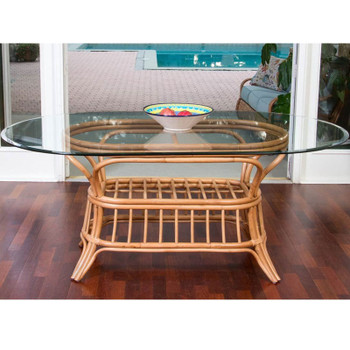Universal Oval Dining Table with Glass Top in Antique Honey finish