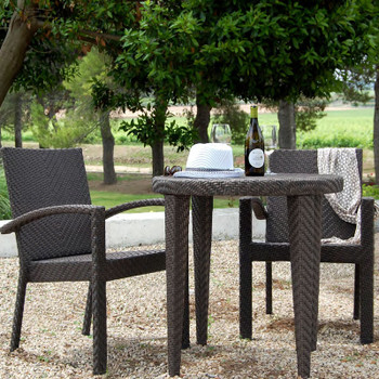 Atlantis Outdoor 3 piece Bistro Set with 2 Arm Chairs without cushions