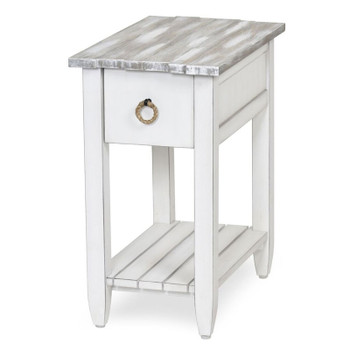 Picket Fence Chairside Table in Distressed Grey/Blanc finish