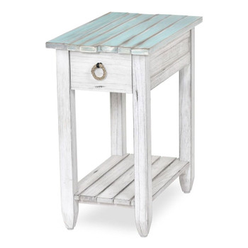 Picket Fence Chairside Table in Distressed Bleu/White finish