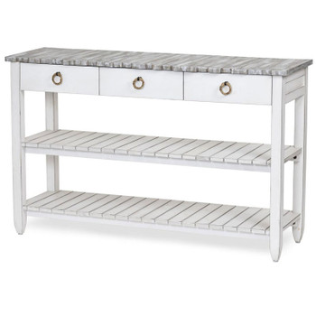 Picket Fence Entertainment Center in Distressed Grey/Blanc finish