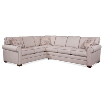 Bedford RSF Two-Piece Corner Sectional Set in fabric 0851-73 A and pillow fabric 701-14 G and Havana finish