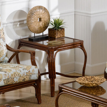 Whitney End Table with Glass Top