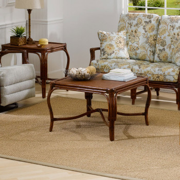 Whitney Coffee Table with Square Glass Top