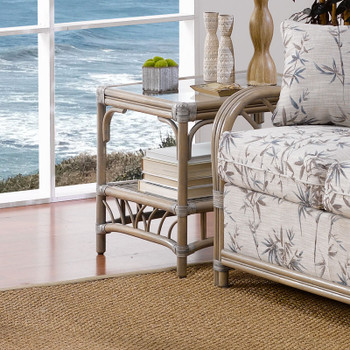 Ocean View End Table with Glass Top