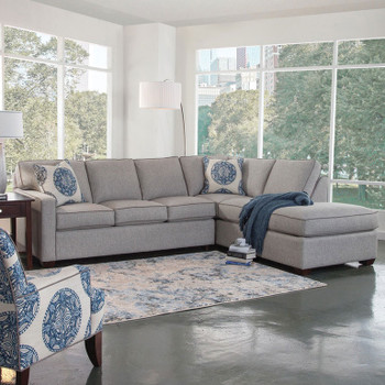 Bedford LSF Two-Piece Bumper Sectional Set in fabric '0862-83 B' with contrast welt '0313-83 B' and pillow fabric '0655-61 H'  with contrast welt '0313-83 B' and Java finish