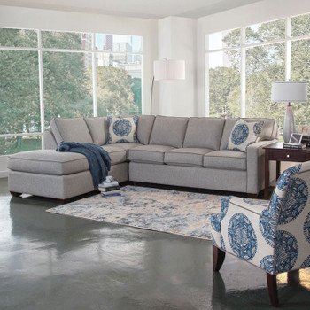 Bedford RSF Two-Piece Bumper Sectional Set in fabric '0862-83 B' with contrast welt '0313-83 B' and pillow fabric '0655-61 H'  with contrast welt '0313-83 B' and Java finish