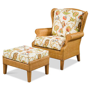 Havana Wing Chair and Ottoman Set in Honey finish