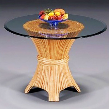 Caliente Round Dining Table With Bevel Glass Top
