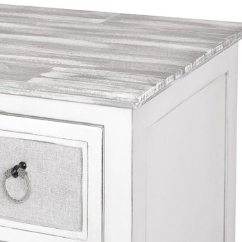 Close-up of Captiva Island 3-Drawer Chest in Grey Wash/Blanc finish
