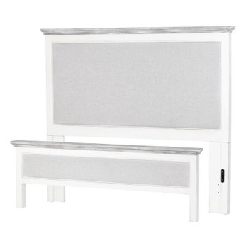 Captiva Island Headboard and Footboard in Blanc finish frame and Gray fabric