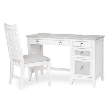 Captiva Island Desk & Chair Set in Grey Wash/Blanc finish
