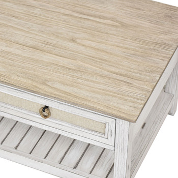 Close-up of Captiva Island Coffee Tablee in Beach Sand/Weathered White finish