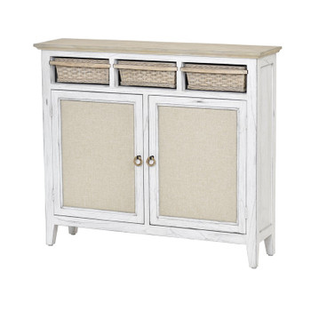 Captiva Island Entry Cabinet with Baskets in Beach Sand / Weathered White finish