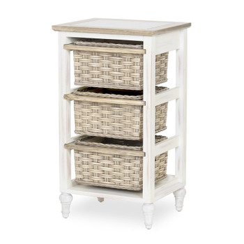 Island Breeze 3-Basket Storage Cabinet in Weathered Wood/White finish