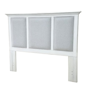 Monaco Upholstered Headboard in Blanc finish frame and Gray fabric