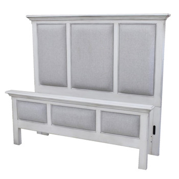 Monaco Upholstered Bed in Blanc finish frame and Gray fabric