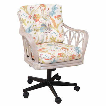 Cuba Tilt Swivel Caster Office Chair in Rustic Driftwood Finish and Submarino Tropical Fabric