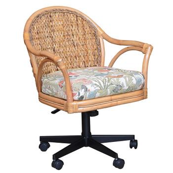 Panama Tilt Swivel Caster Office Chair in Antique Honey finish