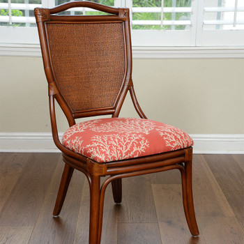 Serengeti Dining Side Chair in Sienna finish and Emily Red fabric