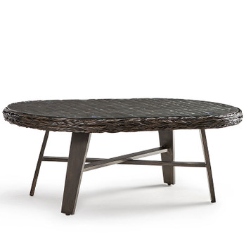 Grand Isle Outdoor Coffee Table with Glass Top in Dark Caramel finish