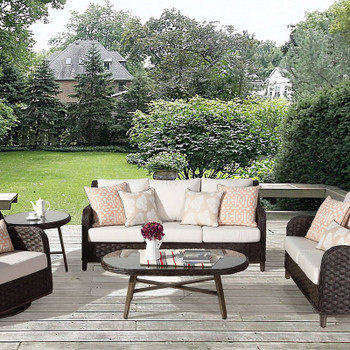 Grand Isle Outdoor 5 piece Seating Set in Dark Caramel finish
