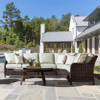 Grand Isle Outdoor 5 piece Sectional Set in Dark Caramel finish