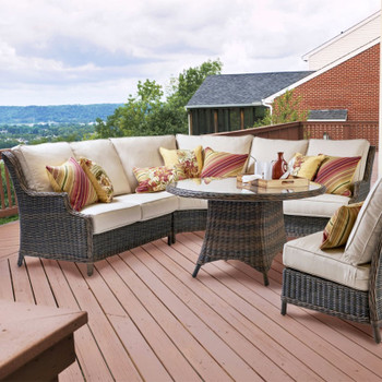 Barrington Outdoor Sectional Set in Chestnut finish