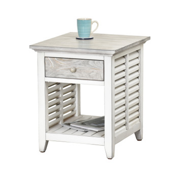 Islamorada End Table in Dapple Grey/ Blanc finish