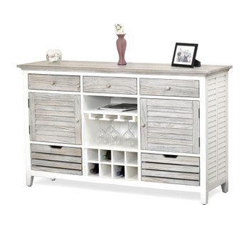 Islamorada Sideboard with Wine Rack in Dapple Grey/ Blanc finish