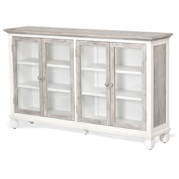 Islamorada Accent 4-Door Cabinet Table in Dapple Grey/ Blanc finish
