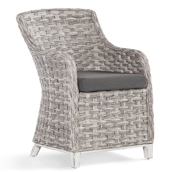 Grand Isle Outdoor Dining Arm Chair in Soft Granite finish