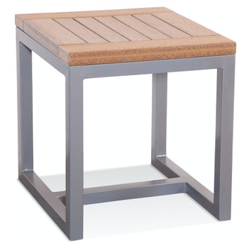 Alghero Outdoor End Table with Antique Mahogany top
