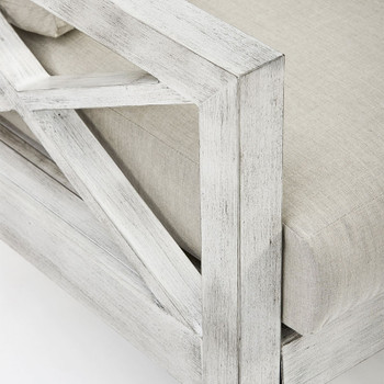 Close up of Farlowe Outdoor Chair in brushed white finish