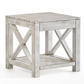 Farlowe Outdoor End Table in brushed white finish