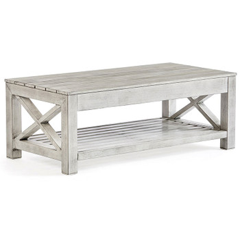 Farlowe Outdoor Coffee Table in brushed white finish