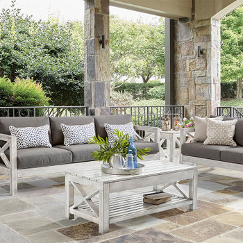 Farlowe Outdoor Seating Collection in brushed white finish