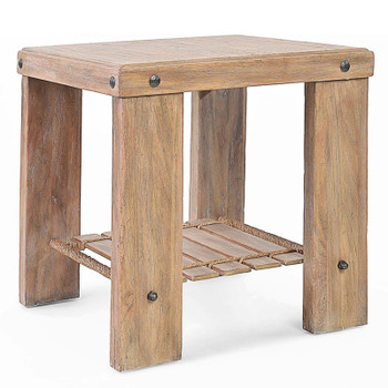 Artisan Landing Wood End Table in Sun Weathered finish