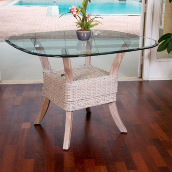 Belize Dining Table With Glass Top in Rustic Driftwood finish