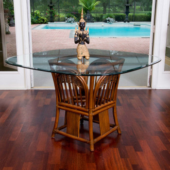 Bridgeport Square Round Table Base With Glass Top in Sienna finish