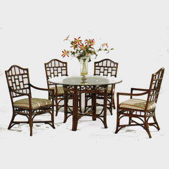 Chippendale 5 piece Round Dining Set with Arm Chairs in Java finish