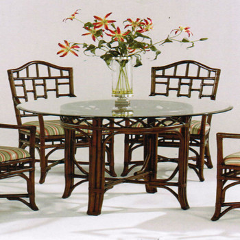 Chippendale Round Dining Table in Java finish
