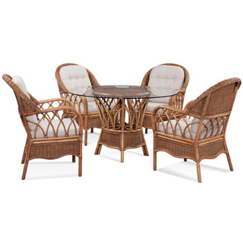 Everglade five piece dining set in Honey finish