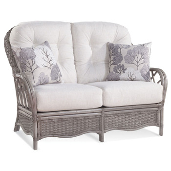 Everglade Loveseat in fabric '0851-93 A' with pillow fabric '0412-85 H' and Driftwood finish