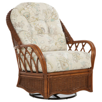 Everglade Swivel Glider in fabric '0549-96 D' and Havana finish