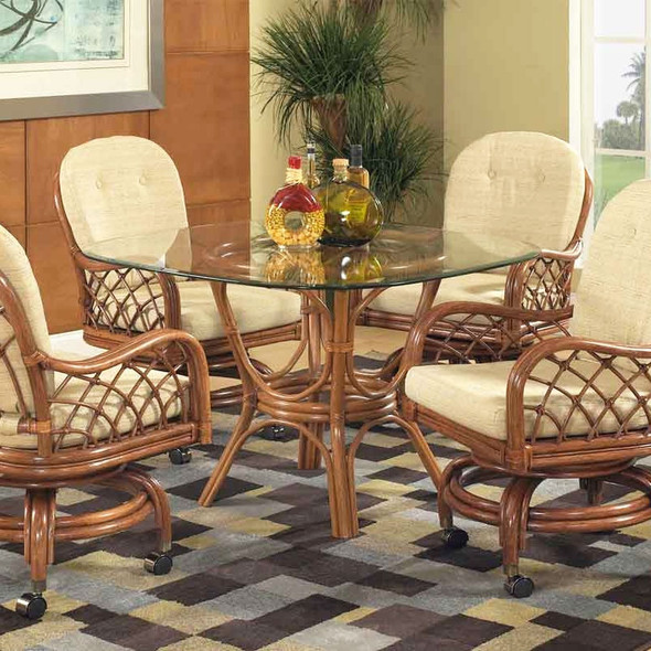 Grand Isle Dining Table with Bevel Glass Top