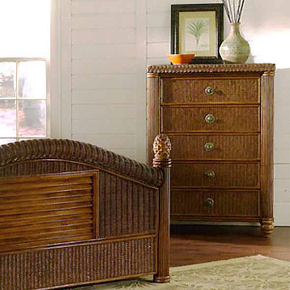 Harborside 5 Drawer Chest With Glass Top